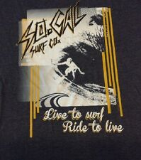So Cal Surf Co T Shirt Tee Live To Surf Ride To Live Grey Cotton Blend Adult XL