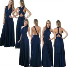 Navy Blue Infinity Bridesmaid Maxi Multiway Convertible Wrap Dress Gown M/L