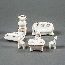Vtg Porcelain Miniature Dollhouse Furniture 7 Pieces Living Room Flower Design