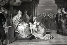 PAPE EUGENE III AMBASSADEURS DU ROI DE JERUSALEM 1145 GRAVURE 1838 R2621