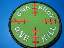 PATCH MILITARY TACTICAL MORALE ONE SHOT ONE KILL CIRCLE HOOK BACK FOR CAP, BAG