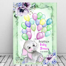 Personalised Baby Shower Cute Baby Elephant - Guest Sign In Print, Balloons