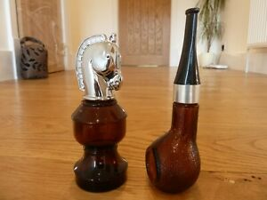 Avon Vintage Pipe & Chess Piece Glass After Shave Empty Bottle Collectable