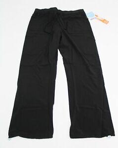 Urbane Performance Women's Knit Waist Cargo Jogger Scrub Pant CM9 Black Size XL