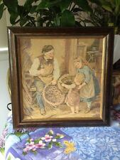 Antique Vintage Cloth Tapestry Young Child Family Picture Photo Wood Frame Rare