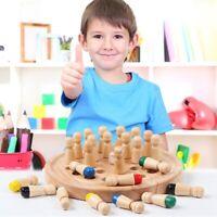 Kinder Holz Memory Match Stick Schachspiel Lernspielzeug Gelb IRetro @97k