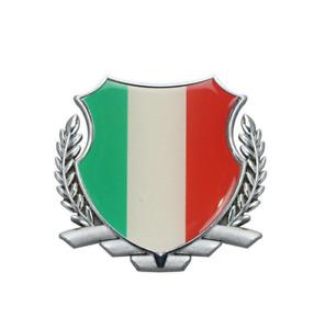 Silver Metal Wreath Italy Italian Flag Car Accessories Body Emblem Badge Sticker