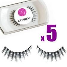 Lasgoos 5 * Real Mink Hair Soft False Eyelashes Ultra Thin Salon Full Strips#019