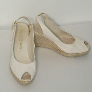 Russell & Bromley White Leather Straw Wedge Heel Espadrille Shoes UK 5