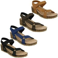 LADIES WOMENS DOWN TO EARTH MID WEDGE HEEL OPEN TOE SUMMER SANDALS F1R0716