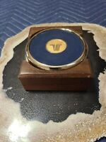 Lockheed Martin 4 Coasters in Solid Black Walnut Holder Brass Tone Blue Leather