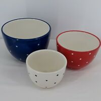 ND Red White Blue Ceramic Hand Painted Polka Dot Nesting Bowls Patriotic 4th Jul