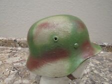 Wwii German M40 camo painted helmet with liner and chinstrap