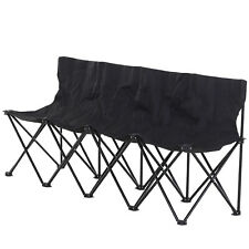 Outunny 4-Seater Sport Bench Camping Seat Folding Portable Outdoor - Black