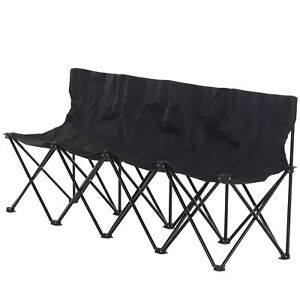 Outsunny 4-Seater Sport Bench Camping Seat Folding Portable Outdoor - Black