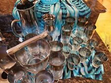 VINTAGE MAD MEN ROLY POLY GLASS  SILVER METALLIC DOROTHY THORPE STYLE 21 PIECES!