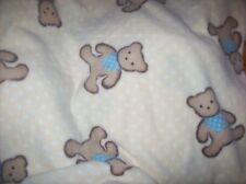 yellow teddy bears  fleece personalized blanket 36x30 baby toddler free shipping