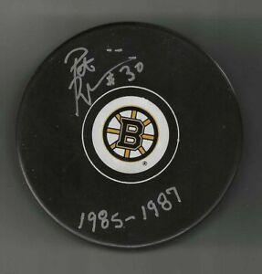 Pat Riggin Signed & Inscribed Boston Bruins Puck