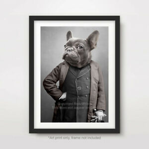 FRENCH BULLDOG DOG ART PRINT POSTER Breed Funny Quirky Portrait Grey Gray