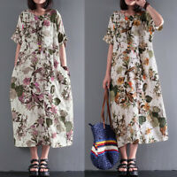 Belle Femme Robe Midi Floral Manche courte Casual en vrac Loose Party Dress Plus