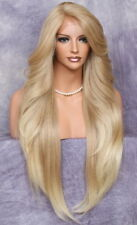"""38"""" Long Human Hair Blend Full Lace Front Wig Heat OK Blonde mix WEPC 27/613"""