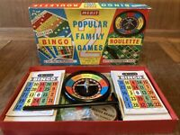 Vintage Family Games Set Retro Style Great For Xmas Bingo and Roulette Complete