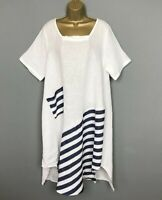 LINEN BALLOON DRESS WHITE Blue Pockets Italian Lagenlook Womens UK Size 14 16 18