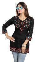 Women Indian Short Printed Ethnic Kurti Tunic Kurta Shirt Dress MI521 BLACK