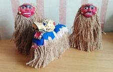 Three Tribal Figurines with painted masks and Coconut Fringe Costume ID0489