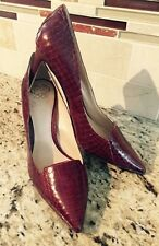 Vince Camuto Red Snake Embossed Leather Panan Pumps Pointy Toe Heel Shoe 6