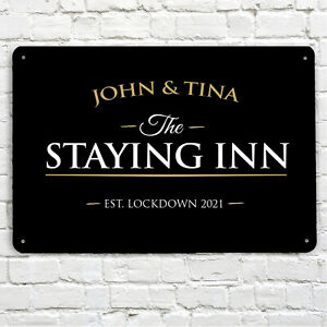 Personalised The Staying Inn Bar Sign - home bar, family name, A4 Bar sign