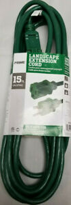 15 FT GREEN GROUNDED EXTENSION CORD (Prime Landscape, 2017) NEW