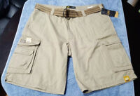 Lee Dungarees Mens Cargo Shorts Khaki with cell phone pocket 100% Cotton NEW