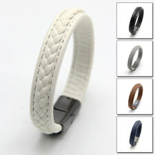 Fashion Magnetic-Clasp Bracelet Jewelry Leather Men Wristband Gift Simple Cuff