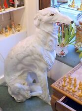 Life-Size Italian White Glazed Terracotta Borzoi, Regal, Elegant and Glamorous.
