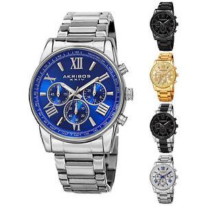 New Men's Akribos XXIV AK865 Quartz Chronograph Day Date Bracelet Watch