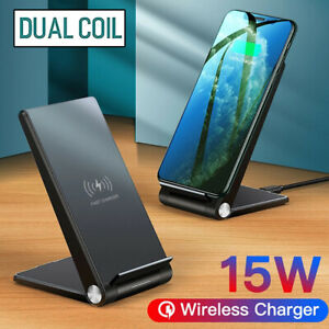 15W Fast Qi Wireless Charger Charging Dock Foldable Stand For iPhone 11 8 XS Max
