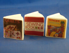 Birchcroft Thimbles -- Miniature Book Style  -- 3 Sewing Themes ( Make Offer )