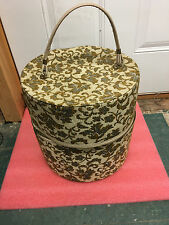 """BS6 Vintage hat or wig box fabric covered 13"""" H x 12.5"""" dia EXCELLENT condition"""