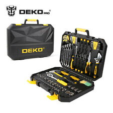 DEKOPRO 128 Pcs Hand Tool Set General Household Hand Tool Kit with Plastic Toolb