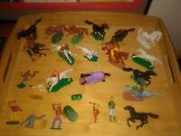 🌟 Cowboy Indianer Pferde Vintage Figuren Sammlung Konvolut Set 60er 70er 80er