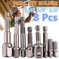 "8X Socket Bit Adapter Drill Nut Driver 1/4"",3/8"",1/2"" Power Extension Bar Set CY"
