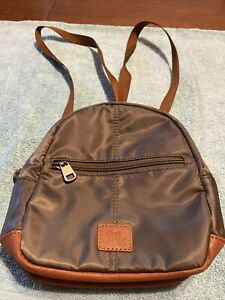 The Sak Olive Green with Brown Trim Mini Backpack Or Crossbody