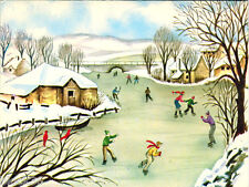 ca 1975 LARGE folding New Year postcard SKATERS ON THE FROZEN RIVER