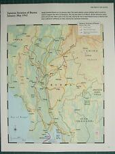 WW2 Seconde Guerre Mondiale Carte ~ Japonais Invasion Of Burma Jan - May 1942