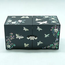 Black 4 drawers jewelry box inlaid with mother of pearl arabesque pattern