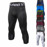 Mens Compression Running Tights Basketball Soccer 3/4 Pants Dri fit Light-weight