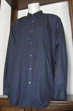 4XL Men Basic Editions Easy Care Long Sleeve Button Down Shirt Blue EUC