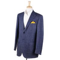 NWT $995 LUIGI BIANCHI Blue Woven Melange Wool-Silk-Linen Sport Coat 42 R