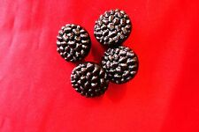 Buttons 4  x2 hole round  brown  raised pattern  2 cm